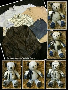 Memory Bear bunny made from loved ones clothing. Find me on facebook: Creative Crafts by Dawn or check out my website creativecraftsbydawn.webs.com