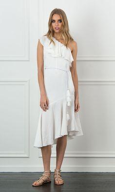 Violetta one shoulder dress in white