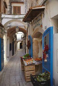 A street scene in the old part of Sperlonga, Lazio, Italy.