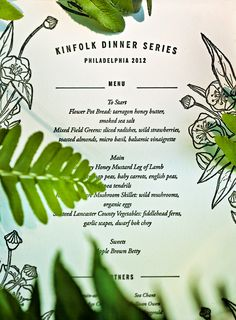 kinfolk dinner menu: dinner series philadelphia