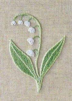 Simple but lovely - Lilly of the Valley embroidery. My favorite flower =]