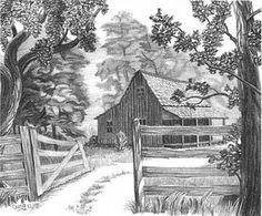 Cabin in the Woods Pencil Sketch