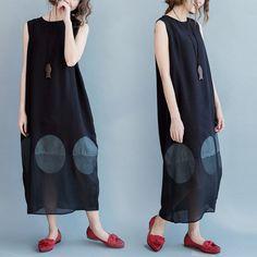 Sleeveless Big Dot Summer long dresses Causal Dresses Plus Size Oversize Women Clothes Q2101