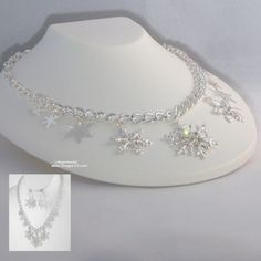 Snowflake Charming Necklace Set Crystals & Charms Winter Wedding Bridal Jewelry $25 per Set | Free USA Shipping