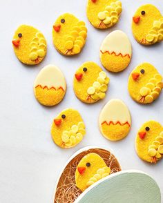 easter chick and egg cookies