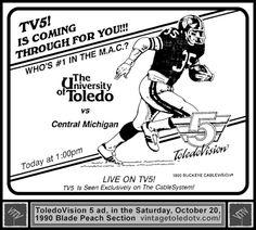 Vintage Toledo TV - ToledoVision 5 - University of Toledo vs Central Michigan Football (Sat 10/20/90)