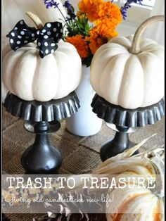 TRASH TO TREASURE-giving candlesticks new life as a chic pedestal-stonegableblog.com