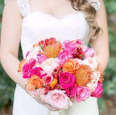 Rose & pincushion protea bouquet (Flowers by Lee Forrest Design, photo by: Amalie Orrange Photography)