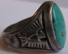 Mens Size 10 5 Vintage Navajo Indian Sterling Silver Turquoise Thunderbird Ring | eBay