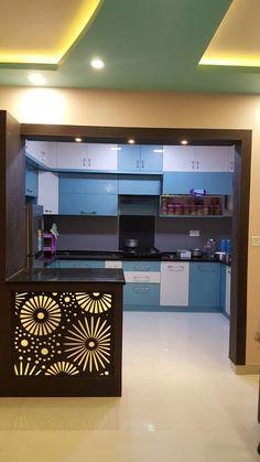 Kitchen Ceiling Design, Kitchen Room Design, Modern Kitchen Design, Interior Design Kitchen, Moduler Kitchen, Living Room Partition Design, Room Door Design, House Design, Indian Home Design