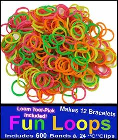 Neon Rainbow Rubber Band Looms Refill (600)