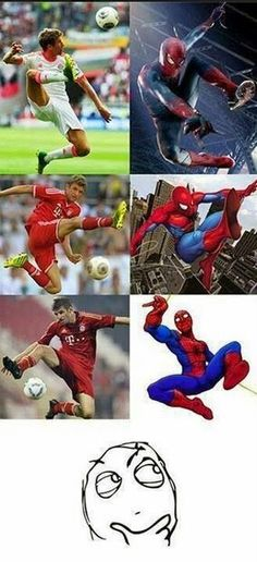 Thomas Muller similarity with spiderman