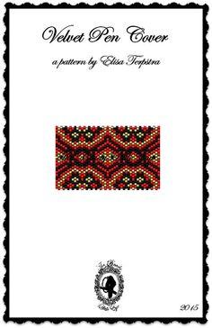 Peyote Pattern Peyote Stitch Beaded Pen Wrap Cover Beading Pattern Velvet Pen Cover Pattern