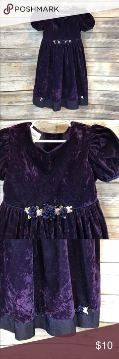 Size 6 Bonnie Jean Crushed Velvet Dress Gorgeous deep purple crushed velvet with deep blue satin like trim and tie.  Cute flower detail. Bonnie Jean Dresses