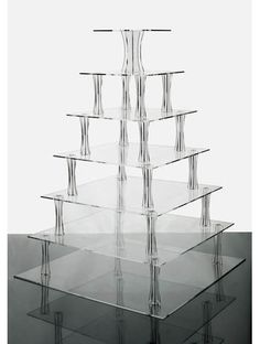 7 Tier Clear Square Shaped Acrylic Cup Cake Stand in Crafts, Cake Decorating | eBay