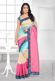 194601 Multicolor color family Bollywood sarees in Art Silk fabric with Lace work . Buy Designer Sarees Online, Indian Designer Sarees, Indian Silk Sarees, Pure Silk Sarees, Indian Beauty Saree, Designer Wear, Bollywood Sarees Online, Bollywood Fashion, Saree Fashion