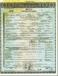 Kurt Cobain's Death Certificate