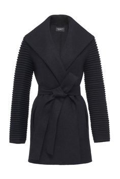 SENTALER Luxury Outerwear Wrap Coat with Ribbed Sleeves in color: black