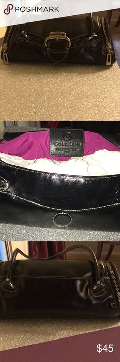 Coal Haan Black patent  leather Cole Haan purse.  Has small pockets on each side ;. Clean on the inside as well .   The cover picture came out a bit shinny , and look as though it has creases , but  that is due to lighting . The purse is actually very gently used , and looks almost new. Nice classy purse. Price is negotiable , so don't hesitate to make an offer . No reasonable offer will be refused Bags Shoulder Bags