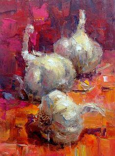 Garlic Trio original fine art by Julie Ford Oliver