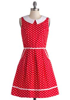 All Eyes on Unique Dress in Dotty - Red, White, Polka Dots, Pockets, Casual, Vintage Inspired, A-line, Sleeveless, Better, Exclusives, Varia...