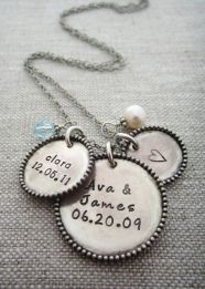 Beaded Frame Hand Stamped Rustic Cluster Necklace