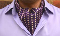MAKOA - Amethyst Purple with Pale Vanilla & Black Geometric Pattern Woven Silk Cravat  #Cravats #Cravat #Ascot #Ascottie #Ascots #Ties #DayCravat #Weddings #Groomswear