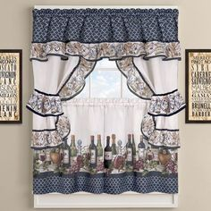Hanging Cottage Curtain Decor With Colorful Border Of Wine Bottles 24 X 57 Inch