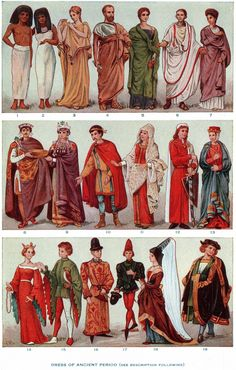 "1.Egyptian man   2.Egyptian woman   3.Greek woman in peplos   4.Greek man in ""chiton""   5. Hellenistic Greek woman   6.Noble Roman in tunic   7. Roman Imperial woman   8.Byzantine emperor Justinian   9.Byzantine empress Theodora   10.Frankish nobleman   11.Frankish lady   12.German nobleman 13th century   13.German lady 13th century   14.Titled young lady (1400)   15.Titled young man (1400)   16.Gentleman of Burgundy   17.Gentleman of Burgundy   18.Lady of Burgundy   19.Nurnberg Citizen…"