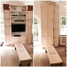 #DIY #thuis ombouwkast tv #oudepaneeldeuren en van 4de deur lage #tafel op wielen