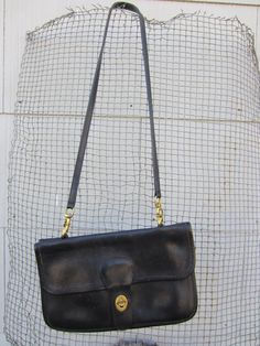 Coach Black Classic Heavy Leather Handbag // Coach Leatherward Made in New York City // Vintage Shoulder Purse Coach Handbags, Coach Purses, Shoulder Purse, Shoulder Strap, Office Chic, Almost Always, Leather Handbags, Two By Two, Crossbody Bag