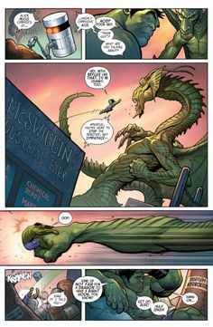 Hulk vs Fin Fang Foom in The Totally Awesome Hulk #3 - Frank Cho