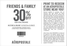 30% off everything at Aeropostale & P.S., or online via checkout promo AERO30OFF coupon via The Coupons App