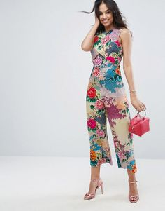 ASOS Jumpsuit with Wrap Front and Tie Back in Floral Print