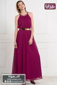 (44$ )فستان مكسي ارجواني