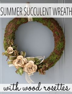 DIY Summer Succulent Wreath with Wood Slices Cheap Diy Headboard, Diy Headboards, Easy Diy Crafts, Diy Craft Projects, Wood Projects, Craft Ideas, Wood Rosettes, Dollar Tree Storage Bins, Diy Blanket Ladder
