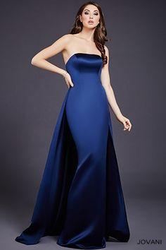 Navy Strapless Floor Length Dress 36364