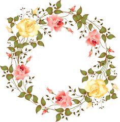 Maduo a ditshwantsho a goth flower borders Art Floral, Deco Floral, Wreath Watercolor, Watercolor Flowers, Flower Frame, Flower Art, Borders And Frames, Decoupage Paper, Vintage Diy