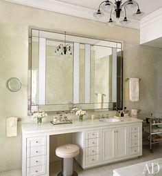 A Manhattan Apartment Makeover : Architectural Digest Apartment Makeover, Apartment Renovation, Vanity Drawers, Vanity Sink, Vanity Stool, Vanity Tables, Vanity Area, Single Sink Bathroom Vanity, Small Bathroom