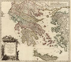 This is a really old and really cool historical map of Ancient Greece from the year 1752 (told you it was really old!This historical map is a replica of the original and can be laminated if that's your thing.We can also print them in sm Vintage Maps, Vintage Wall Art, Vintage Antiques, Vintage Prints, Greece Map, Old Maps, Ancient Greece, Ancient Map, Historical Maps