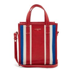 Balenciaga Bazar shopper XS (2180 LYD) ❤ liked on Polyvore featuring bags, handbags, tote bags, red stripe, red tote bag, balenciaga tote bag, zip tote bag, red handbags and red shopping bags