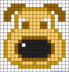 Dog perler bead pattern Hama Beads, Fuse Beads, Fuse Bead Patterns, Mosaic Patterns, Beading Patterns, Crochet Patterns, C2c Crochet Blanket, Tapestry Crochet, Friendship Bracelet Patterns