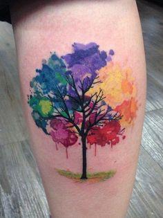 Tree of Life Rainbow Watercolor Tattoo Idea - MyBodiArt.com