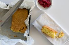 Polenta cake with rhubarb compote