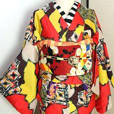 銘仙チェックや水玉切りばめ袷着物/アンティーク - ポップでガーリーな普段着物・ヘッドドレス・古道具・雑貨・アンティークやアーティスト作品の販売 『chiwachiwa ちわちわ』