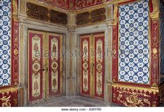 One of the beautifully painted tiled and decorated sitting rooms of The Harem Topkapi Palace Ottoman Empire Istanbul - Stock Image