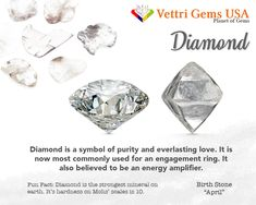 Diamond is a birthstone of April. Diamond is known as the hardest gem on earth. Therefore, people use diamond as a symbol of everlasting love. Vettri Gems USA is a colored stone and natural stone dealer and manufacture from Alexandrite-Zircon. As a member of ICA (International Colored Gemstones Association), we are proud of our high quality product and reliable service. Your satisfaction matters most. #gemstonesmeanings #naturalgems #naturalstones #vettrigemsusa #wholesalegems Diy Crystals, Crystals And Gemstones, Stones And Crystals, Natural Gemstones, Gemstones Meanings, Diy Jewellery Designs, Jewelry Design, Jewelry Sets, Diy Jewelry