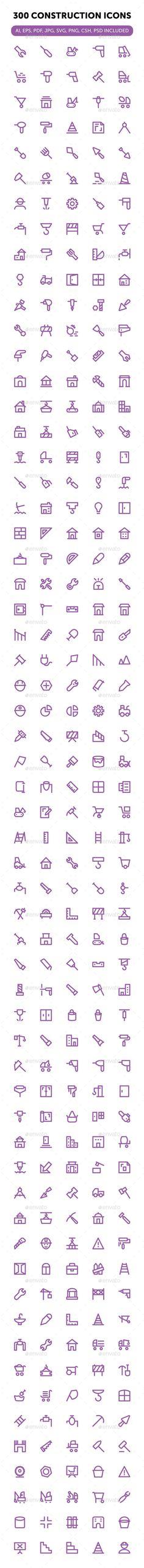 300 Construction Icons Set #design Download: http://graphicriver.net/item/300-construction-icons-set/13311539?ref=ksioks