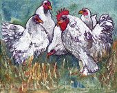 Rooster Art,  farm animal watercolor print 8x10""