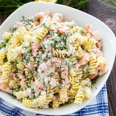 Shrimp and Dill Pasta Salad Dill Pasta Salad Recipe, Creamy Pasta Salads, Best Pasta Salad, Shrimp Salad, How To Cook Shrimp, How To Cook Pasta, Pasta With Mayonnaise, Light Summer Meals, Creamy Dill Sauce